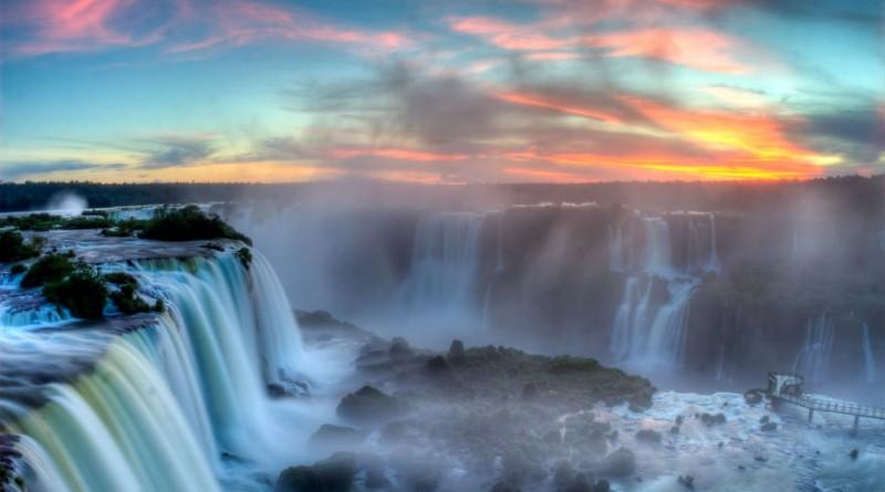Brazil Iguazu falls sunset