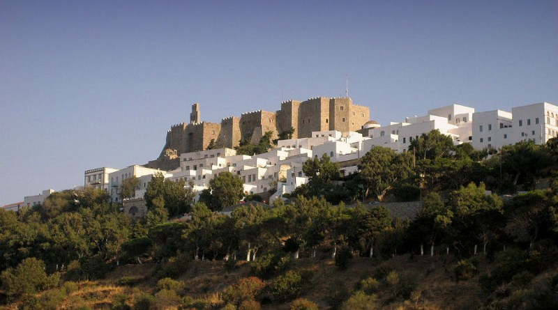 Greece Patmos Chora and castle of Patmos