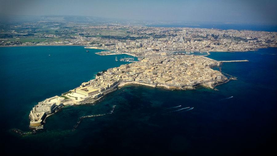 Sicilija Sirakuza Znamenitosti Plaze Slike Mapa Svet Putovanja