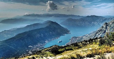 Montenegro view of bay of Kotor from mount Lovcen