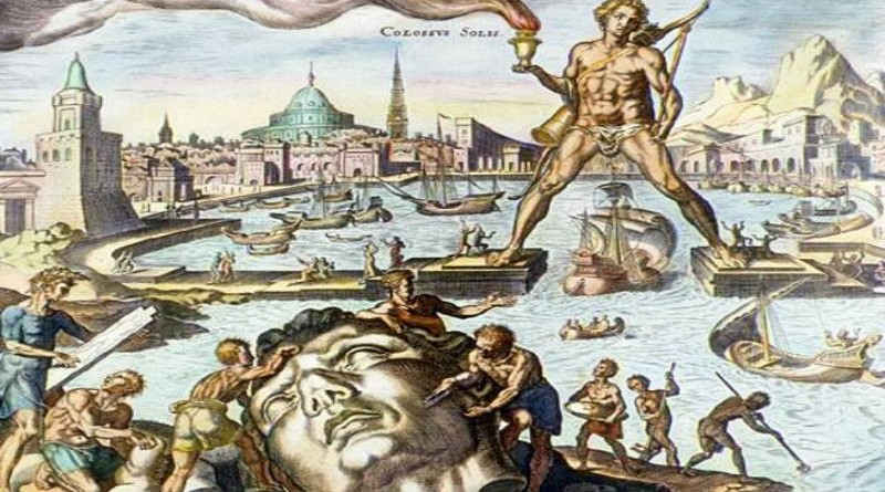 Ancient wonder Colossus Rhodes by Marten van Heemskerck