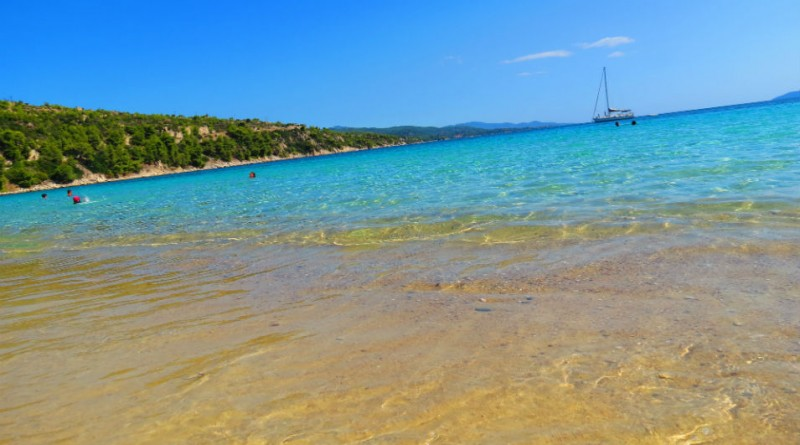 Greece Sithonia Agios Ioannis beach crystal clear water
