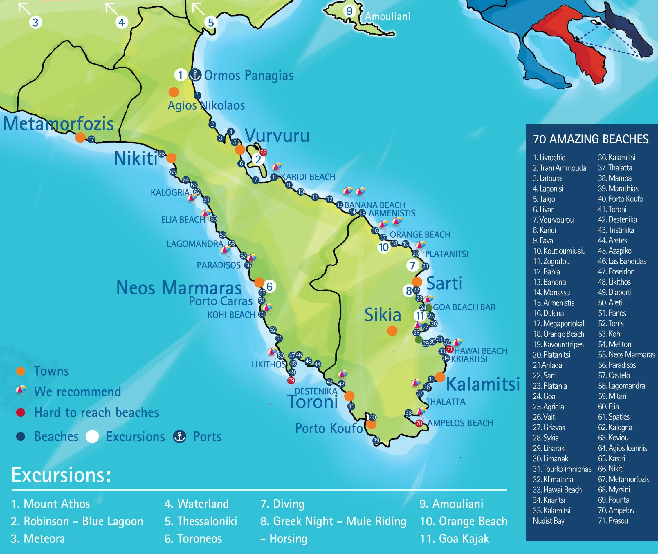 tasos mapa satelit Sitonija mapa | Svet Putovanja tasos mapa satelit