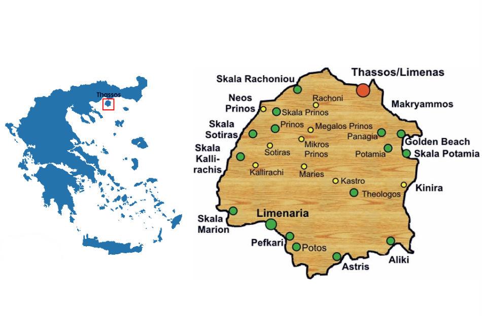 Ostrvo Tasos Mapa Svet Putovanja