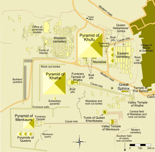 Mapa lokacije oko Keopsove, Kefrenove i Mikerinove piramide