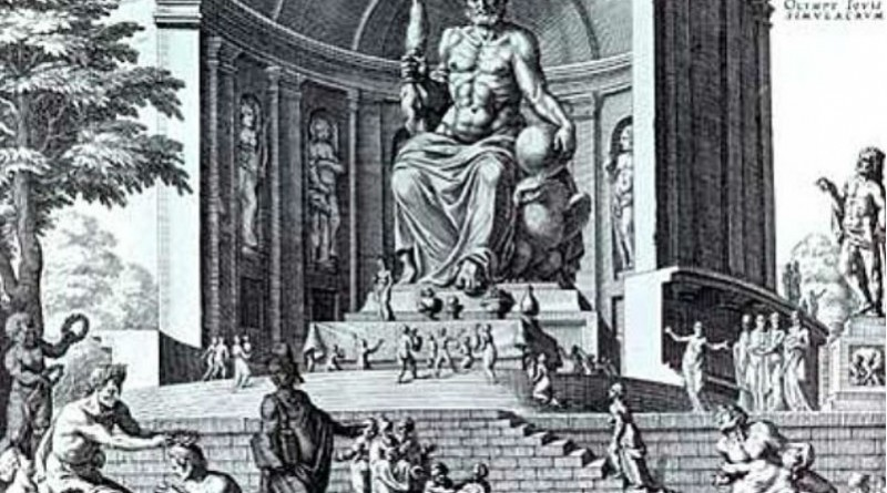 Seven wonders - Statue of zeus at Olympia, drawing by Maarten van Heemskerck