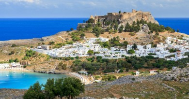 Greece Rhodes Lindos town and beach