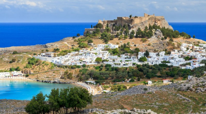 Greece Rhodes Lindos town and beach