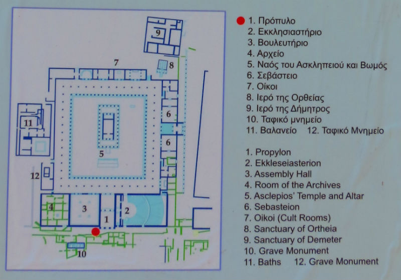 Mapa Asklepiona u Mesini