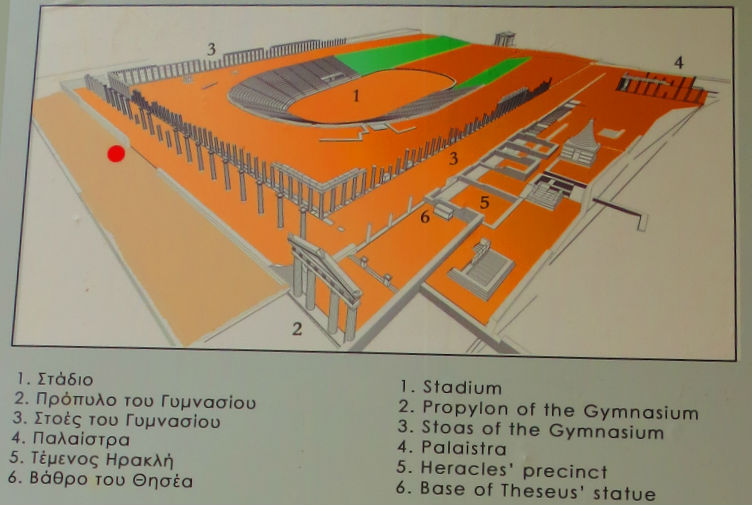 Greece Peloponnese Ancient Messene stadion map