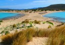 Greece Peloponnese Elafonisos Simos beach view from peninsula