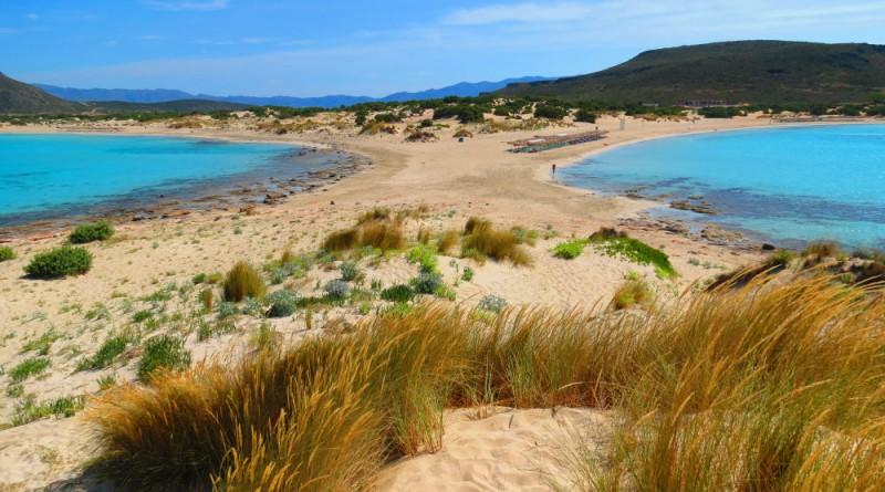 Greece Peloponnese Elafonisos Simos beach view from peninsula