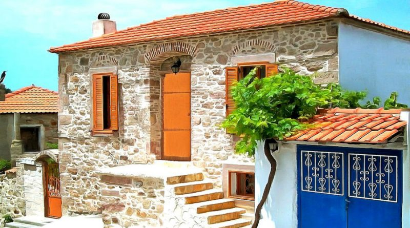 Greece Lesbos Mytilene stone home