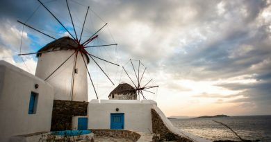 Greece Mykonos Chora windmills