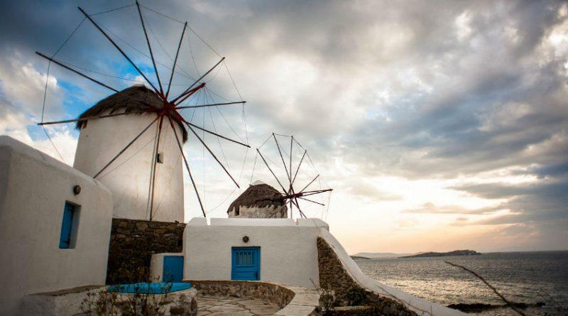 Greece Mykonos Chora windmills