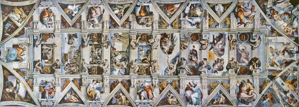 "Plafon sa Mikeladjelovim freskama | <em>Creative Commons - image by <a href=""https://commons.wikimedia.org/wiki/File:CAPPELLA_SISTINA_Ceiling.jpg"" target=""_blank"">Amandajm / commons.wikimedia.org</a></em>"