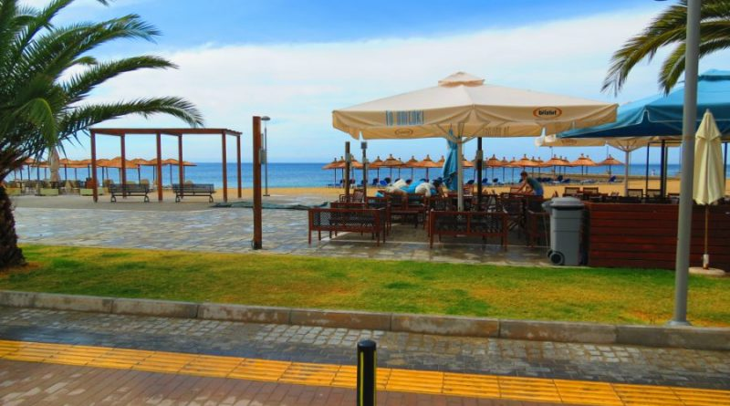 Greece Sithonia Nikiti city beach pedestrian zone