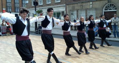 Greece tradition: greek men dancing in a row