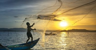 Vietnam sunset fishermen