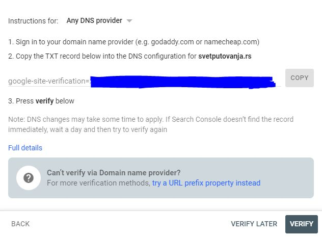 google search console add domain verify