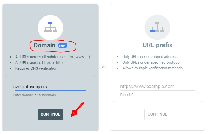 google search console add domain