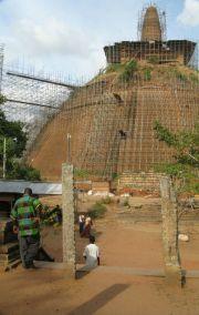 Sri Lanka Anuradhapura Abhayagiri stupa during restoration