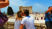 Greece Athens people in love on acropolis