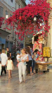 Greece Peloponnese Nafplio walking down the street