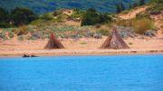 Greece Peloponnese Voidokilia beach tents
