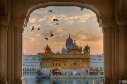 India Amritsar Golden temple at dusk
