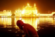 India Amritsar Golden temple at night